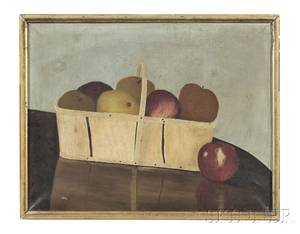 American School Late 19th Century Still Life with a Basket of Apples on a Table