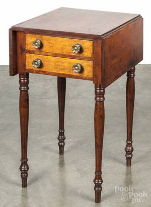 Pennsylvania Sheraton walnut and cherry twodrawer stand