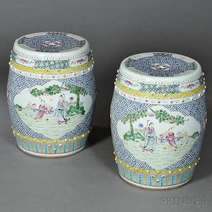 Pair of Chinese Export Porcelain Garden Seats