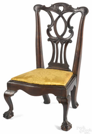 Miniature George III mahogany dining chair late 18th c