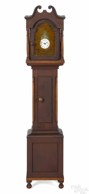 Miniature Pennsylvania Sheraton cherry and tiger maple tall case clock ca 1825