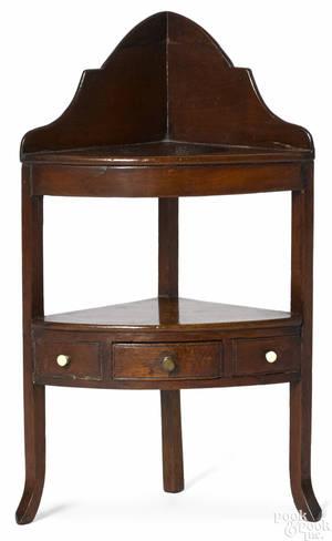 Miniature Hepplewhite mahogany corner wash stand ca 1800