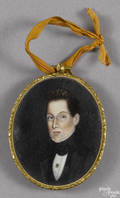 Miniature watercolor on ivory portrait of a gentleman ca 1830