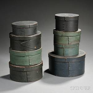 Eight Round Blue or Greenpainted Bentwood Pantry Boxes