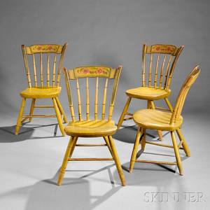 Set of Four Yellow Paintdecorated Side Chairs