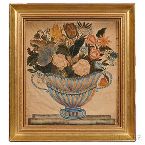 American School Early 19th Century Theorem of an Urn of Flowers