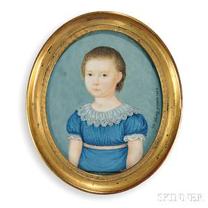 Probably German School Early 19th Century Portrait of a Girl in a Blue Empirewaisted Dress