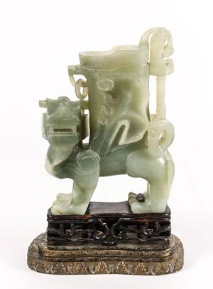 Chinese Figural Jade Carved Ting Vessel