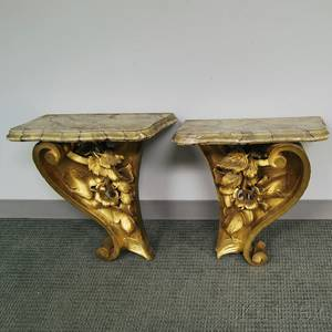 Pair of Rococostyle Gilt Wood and Faux Marble Wall Brackets