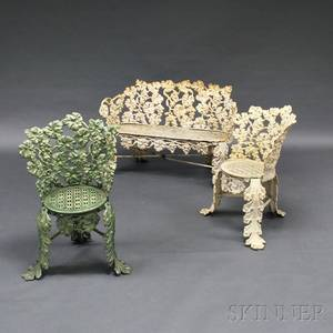 Three Pieces of Victorian Whitepainted Cast Iron Garden Seating
