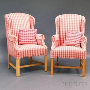 Pair of Chippendalestyle Upholstered Maple Wing Chairs