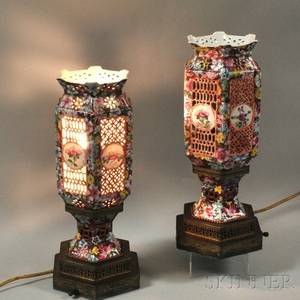 Pair of Chinese Polychrome Porcelain Lanterns