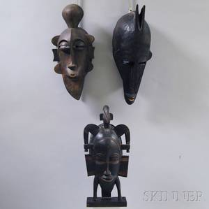 Three Carved African Masks