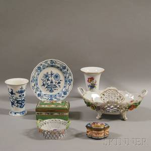 Seven Pieces of Continental Porcelain