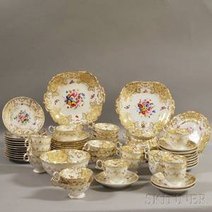 Sixtypiece English Gilt and Handpainted Floraldecorated Porcelain Partial Tea Service