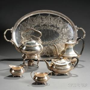 Fourpiece Edward VII Sterling Silver Tea Set with an Associated Sterling Silver Coffeepot and Silverplated Tray