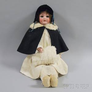 Large Franz Schmidt Bisque Shoulder Head Girl Doll