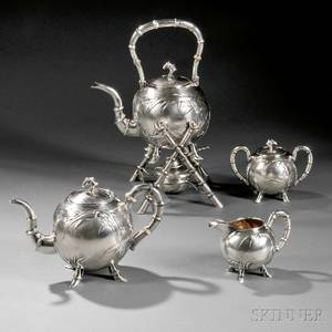 Fourpiece Chinese Export Silver Tea Service