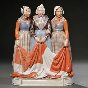 Royal Copenhagen Porcelain Figural Group of Three Women