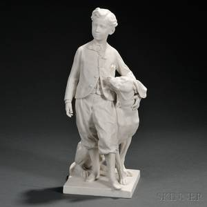 Sevres Parian Model of a Young Man with His Dog