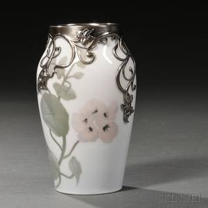 Royal Copenhagen Sterling Silvermounted Porcelain Vase