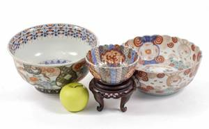 Group of Three Imari Porcelain Bowls