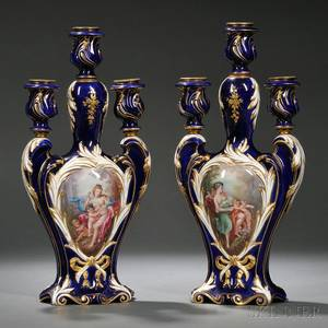 Pair of Sevres Porcelain Handpainted Threelight Candelabra