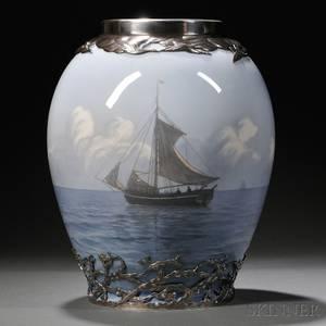 Royal Copenhagen Sterling Silvermounted Porcelain Vase