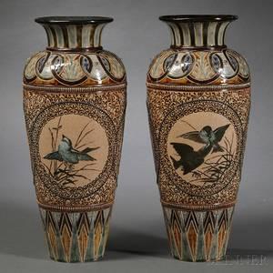 Pair of Doulton Lambeth Florence Barlow Decorated Stoneware Vases