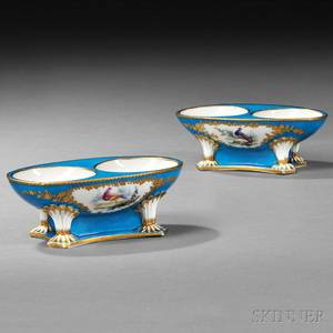 Pair of Sevrestype Porcelain Double Salt Cellars