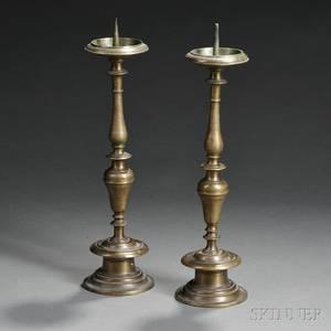 Pair of Brass Pricket Candlesticks