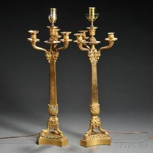 Pair of Empirestyle Giltmetal Fourlight Candelabra