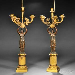 Pair of Empirestyle Figural Parcelgilded Bronze Fivelight Candelabra
