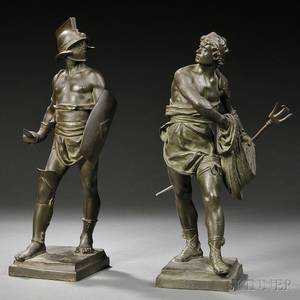 After Eugene Marioton French 18541933 Two Bronze Figures Warrior and Fisherman