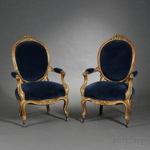 Pair of Louis XVstyle Giltwood Fauteuils