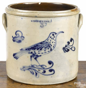 New York threegallon stoneware crock 19th c