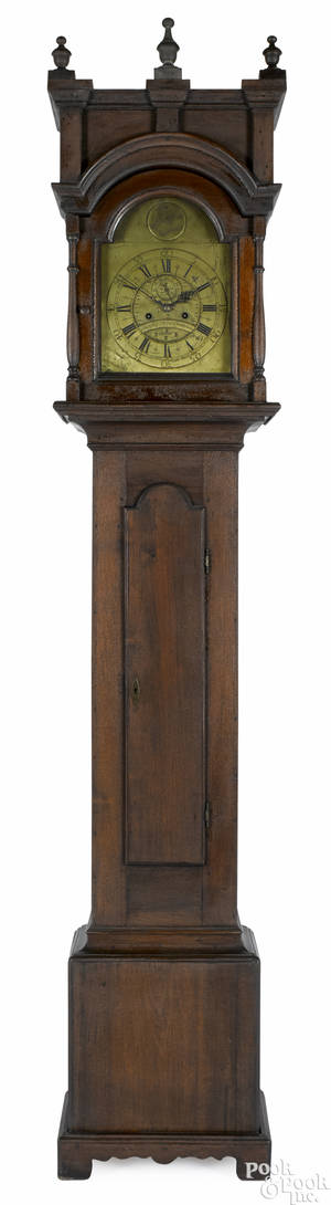 Philadelphia Queen Anne walnut tall case clock ca 1760