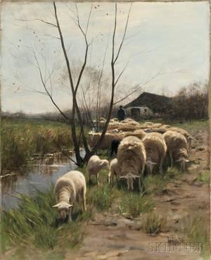 Hermanus Johannes van der Weele Dutch 18521930 Shepherd with a Flock of Sheep