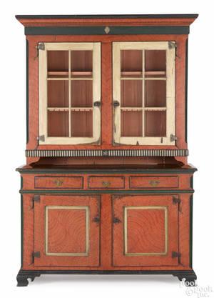 Pennsylvania painted pine twopart Dutch cupboard ca 1790