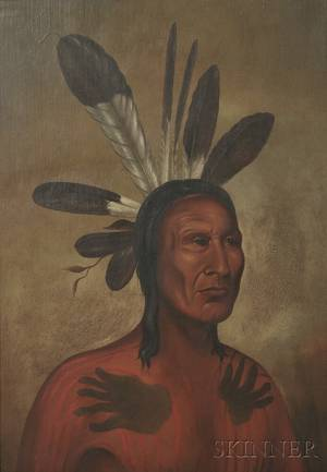 School of George Catlin American 17961872 Portrait of a Chief Possibly Matatope