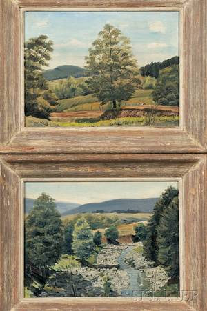 Stanley Bate American 19031972 Pair of New England Summer Landscapes