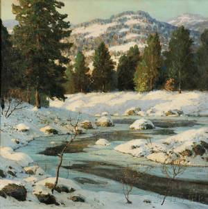 Walter Koeniger American 18811943 Stream in Winter