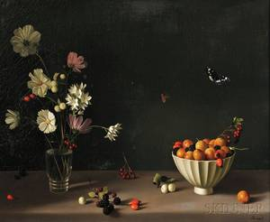 Fernand Renard French b 1912 Still Life with Fruit Flowers and Butterflies