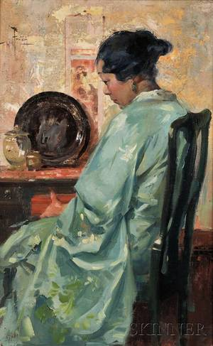 William Frederick Foster American 18831953 Portrait of a Seated Woman in a Silk Robe