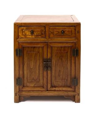 Small Chinese Elm Wood Storage Cabinet
