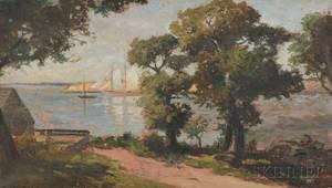 Frank Knox Morton Rehn American 18481914 Harbor View with Schooner