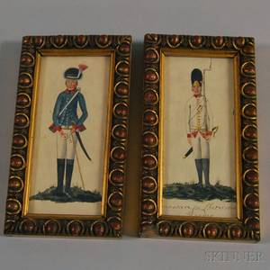 Continental School 18th Century Two Portraits of Soldiers