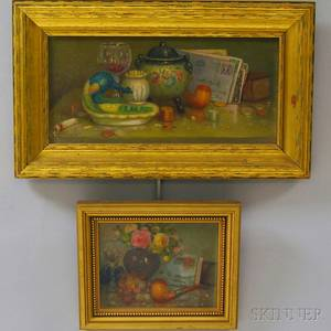 Charles Alfred Meurer American 18651955 Two Still Life Paintings Peacock Ashtray