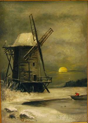 American School 19th20th Century Winter Landscape with Windmill