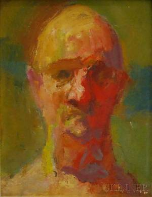 Earl Cavis Kerkam American 18911965 Portrait Head of a Man